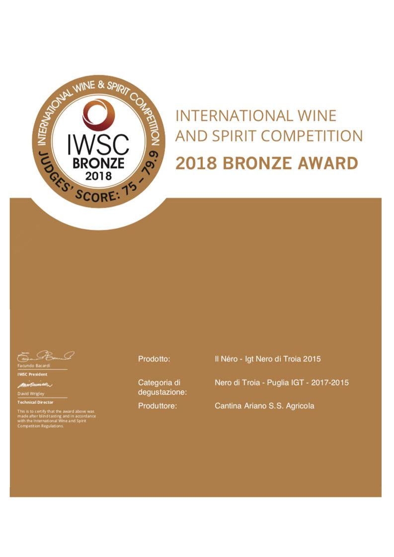 IWSC Bronze Awards 2018
