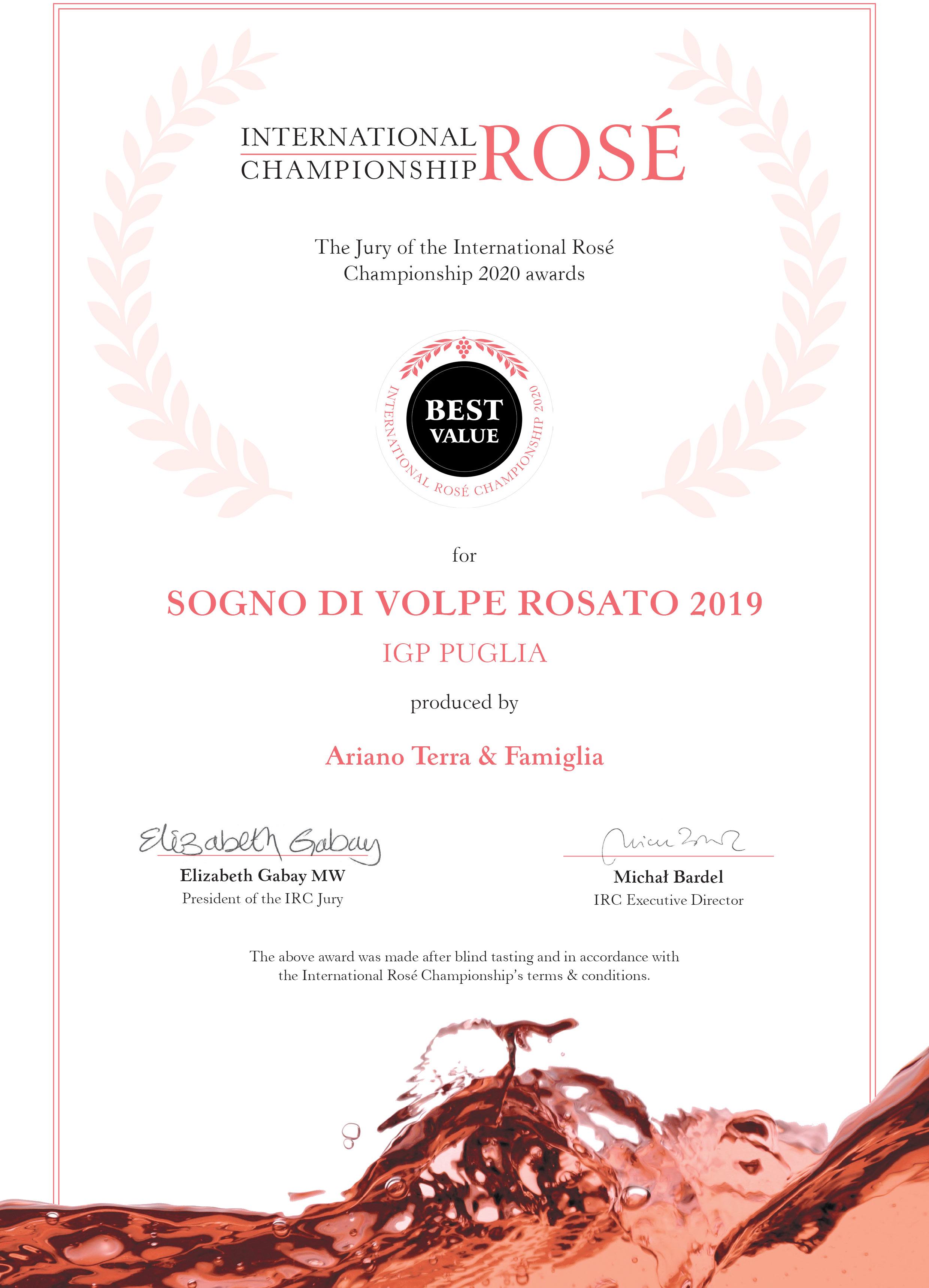 Best Value all'International Rosè Championship 2020