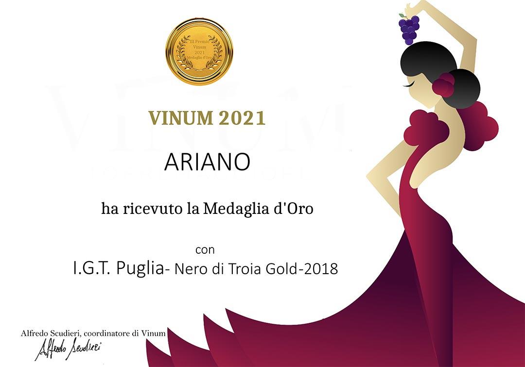 Medaglia d'oro Vinum 2021