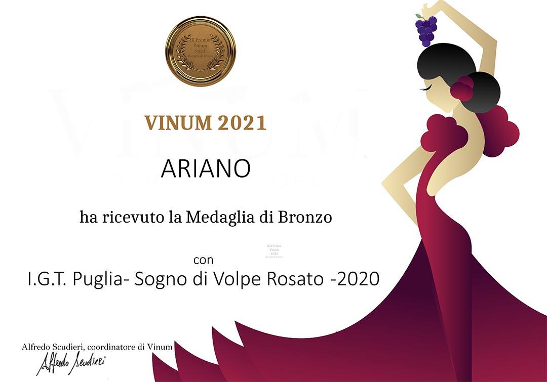 Medaglia di bronzo Vinum 2021