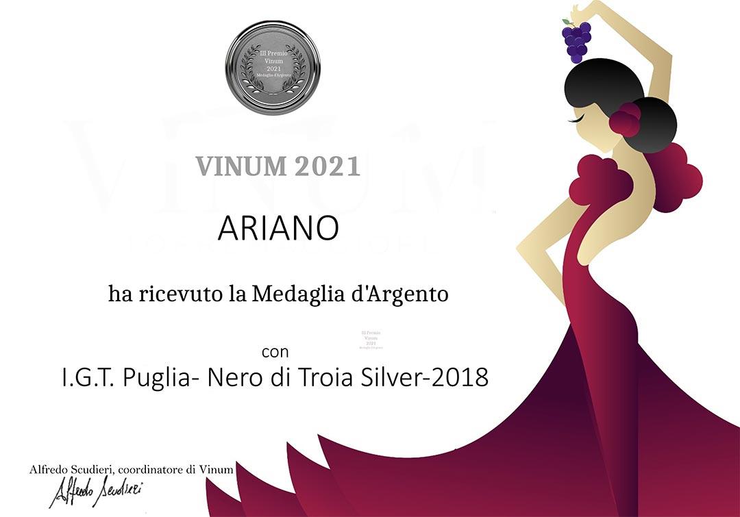 Medaglia d'argento Vinum 2021
